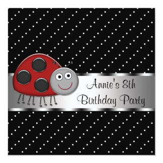 Red Ladybug Girls 8th Birthday Party Card