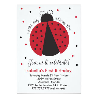 Red Ladybug Girl's First Birthday Card