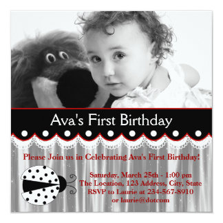 Red Ladybug Girls Photo 1st Birthday Party Card