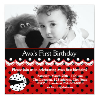 Red Ladybug Girls Photo 1st Birthday Party Announcement
