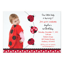 Red Ladybug Girls Photo Birthday Invitations