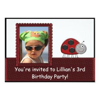 Red Ladybug Girls Photo Birthday Party Custom Announcements