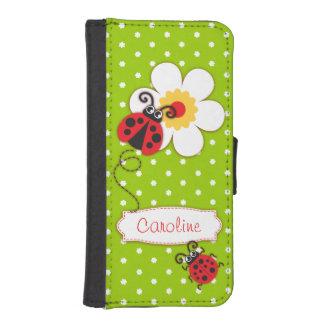 Red ladybug green polka flower girls flap case phone wallets