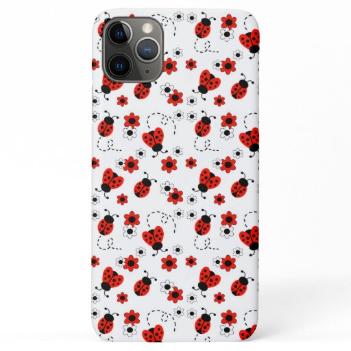 Red Ladybug Lady Bird Lady Bug Floral Girl iPhone 11 Pro Max Case
