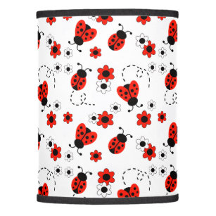 Bug lamp shades zazzle red ladybug lady bug floral white flowers lamp shade mozeypictures Choice Image
