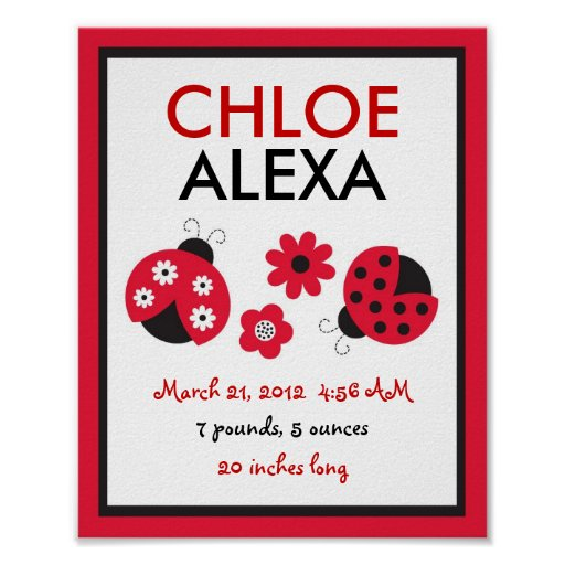 Red Ladybug Nursery Wall Art Birth Print