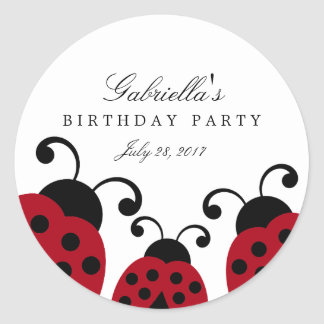 Red Ladybug Party Favor Stickers