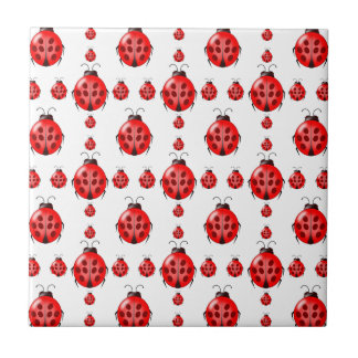 Red Ladybug Pattern Ceramic Tile