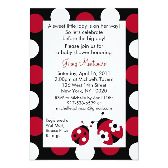 Red Ladybug Polka Dot Baby Shower Invitations
