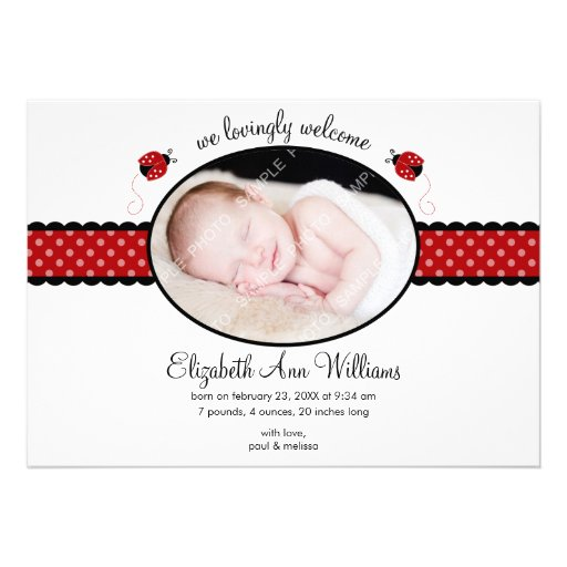 Red Ladybug Polka Dot Photo Birth Announcement