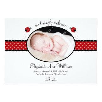 Red Ladybug Polka Dot Photo Birth Announcement