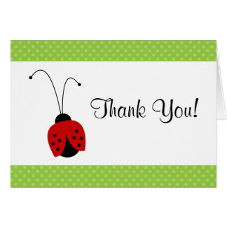 Red Ladybug Polka Dot Thank You Note Stationery Note Card