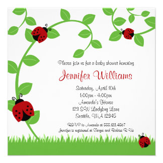 Red Ladybug Vines Baby Shower Invitations