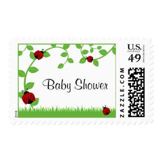 Red Ladybug Vines Baby Shower Stamp