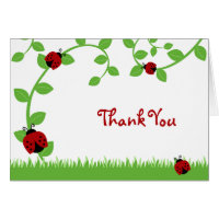 Red Ladybug Vines Thank You Note Greeting Cards