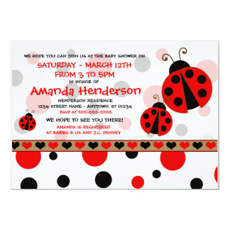 Red Ladybugs Baby Shower Invitations