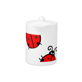 Red ladybugs teapot