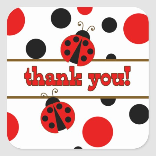 Red Ladybugs Thank You Stickers