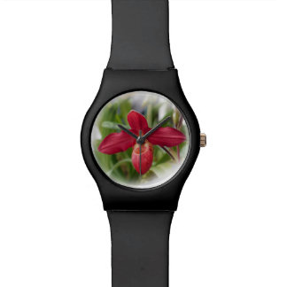 Red Lady's Slipper Orchid Wristwatch