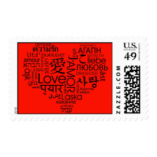 Red Languages of Love Heart Postage