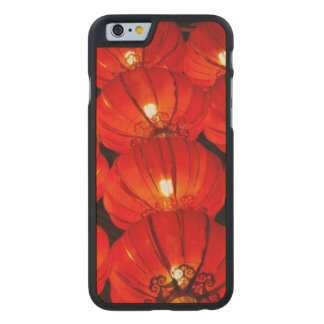 Red lantern at night carved maple iPhone 6 case