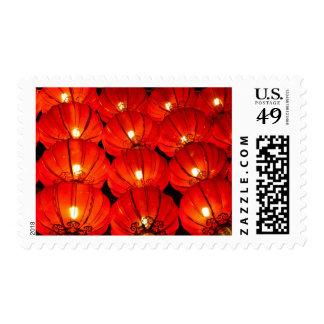 Red lantern at night postage