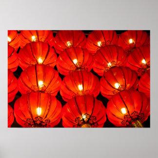 Red lantern at night poster