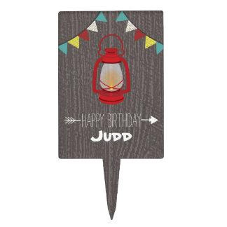 Red Lantern Camping Birthday Cake Topper