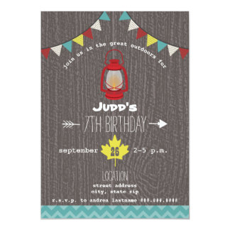 Red Lantern Camping Outdoors Wilderness Birthday 5x7 Paper Invitation Card