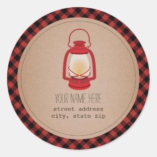 Red Lantern Plaid Address Sticker