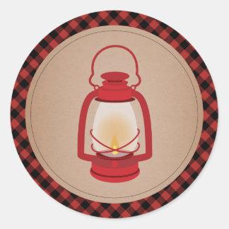 Red Lantern Plaid Sticker