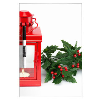 Red lantern with tealight holly twigs and berries Dry-Erase board
