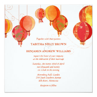 Red Lanterns Modern White Wedding Card
