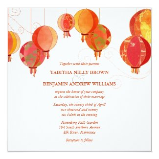 Red Lanterns Modern White Wedding Invitation