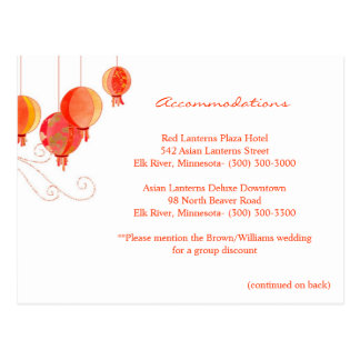 Red Lanterns Wedding Accommodations + Directions Post Card