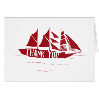 Red Large Ship Sail Boat Thank You Note Card