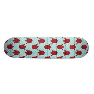 Red Larger Tulips Pattern Skateboard