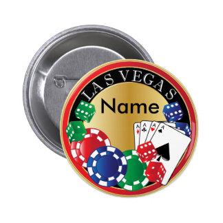 Red Las Vegas Gambler - Dice, Cards, Poker Chips Button