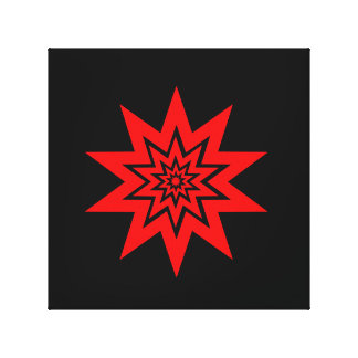 Red Laser Starburst Wrapped Canvas