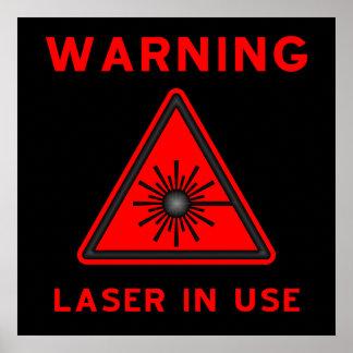 Red Laser Warning Poster