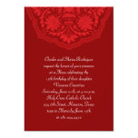 Red Latin Pattern Quinceanera Invitations