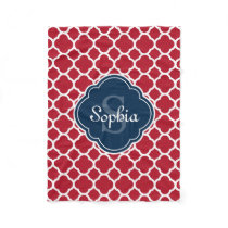 Red Lattice Pattern Navy Monogram Fleece Blanket