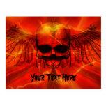 Red Lava Burst Winged Skull Postcard