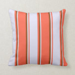 [ Thumbnail: Red, Lavender & Brown Lines Throw Pillow ]