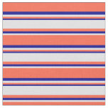 [ Thumbnail: Red, Lavender & Dark Blue Colored Lines Pattern Fabric ]