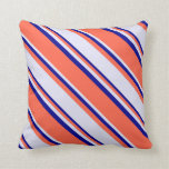 [ Thumbnail: Red, Lavender & Dark Blue Colored Lines Pattern Throw Pillow ]