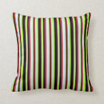 [ Thumbnail: Red, Lavender, Light Green, and Black Colored Throw Pillow ]