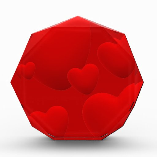 RED LAYERED 3D HEARTS LOVE MOTIVATIONAL SWEETHEART AWARDS
