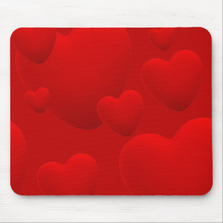 RED LAYERED 3D HEARTS LOVE MOTIVATIONAL SWEETHEART MOUSE PADS