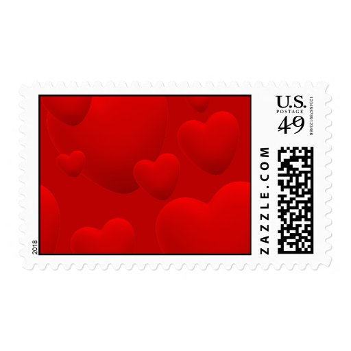 RED LAYERED 3D HEARTS LOVE MOTIVATIONAL SWEETHEART POSTAGE